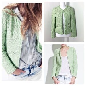 Zara Stud Tweed Open Blazer Jacket